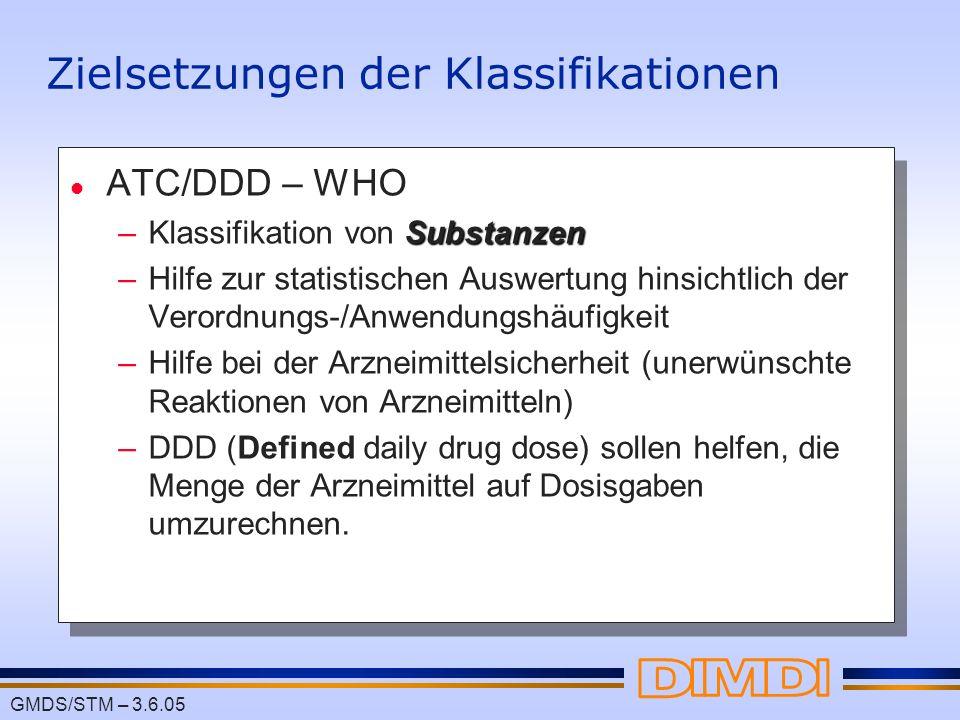 GMDS/STM – 3.6.05 Zielsetzungen der Klassifikationen l ATC/DDD – WHO Substanzen –Klassifikation von Substanzen –Hilfe zur statistischen Auswertung hin
