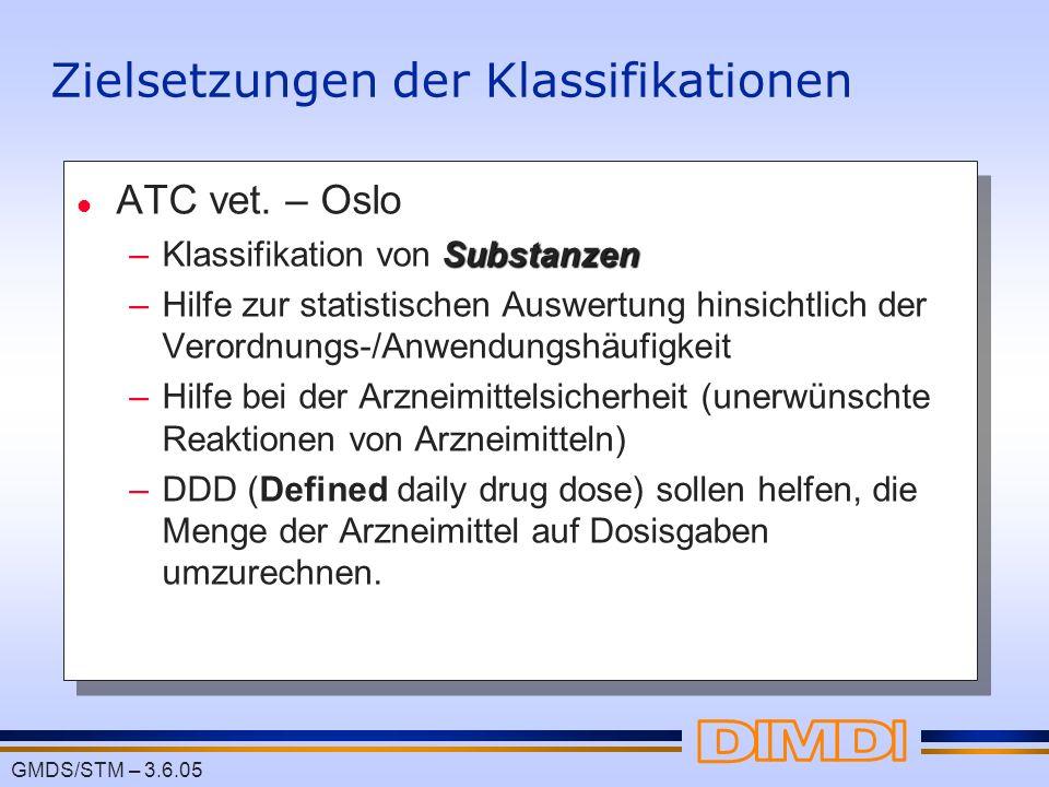 GMDS/STM – 3.6.05 Zielsetzungen der Klassifikationen l ATC vet. – Oslo Substanzen –Klassifikation von Substanzen –Hilfe zur statistischen Auswertung h