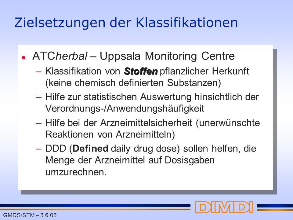 GMDS/STM – 3.6.05 Zielsetzungen der Klassifikationen l ATCherbal – Uppsala Monitoring Centre Stoffen –Klassifikation von Stoffen pflanzlicher Herkunft