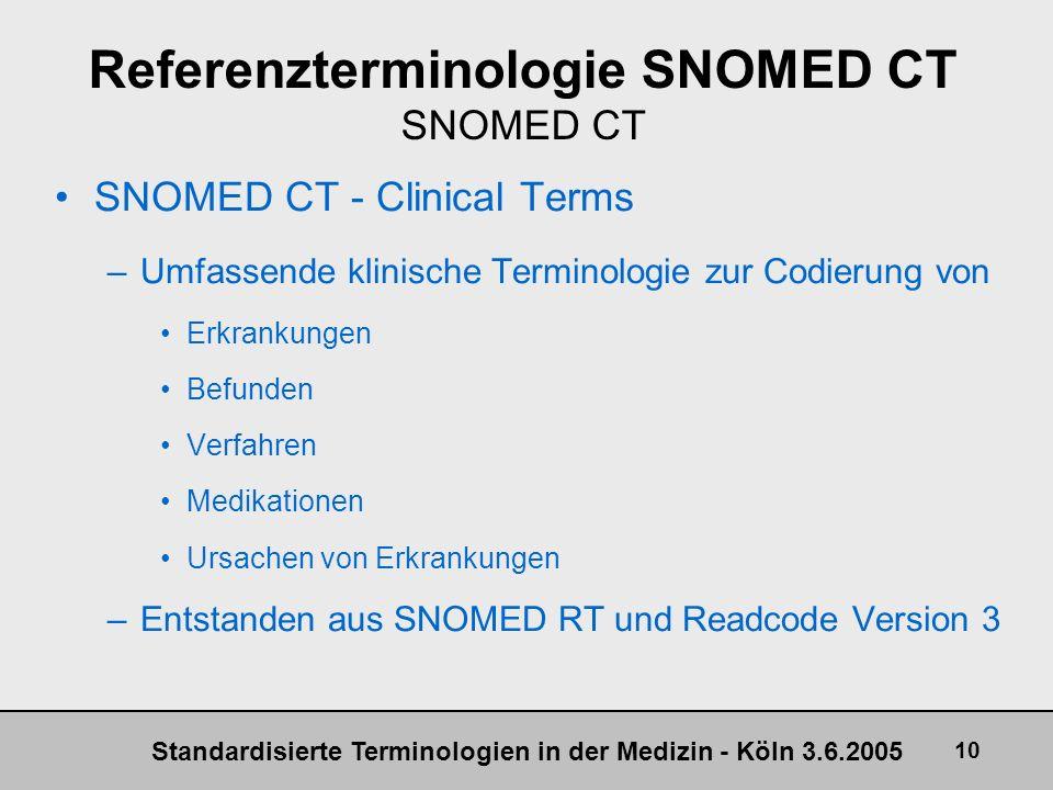 Standardisierte Terminologien in der Medizin - Köln 3.6.2005 10 Referenzterminologie SNOMED CT SNOMED CT SNOMED CT - Clinical Terms –Umfassende klinis