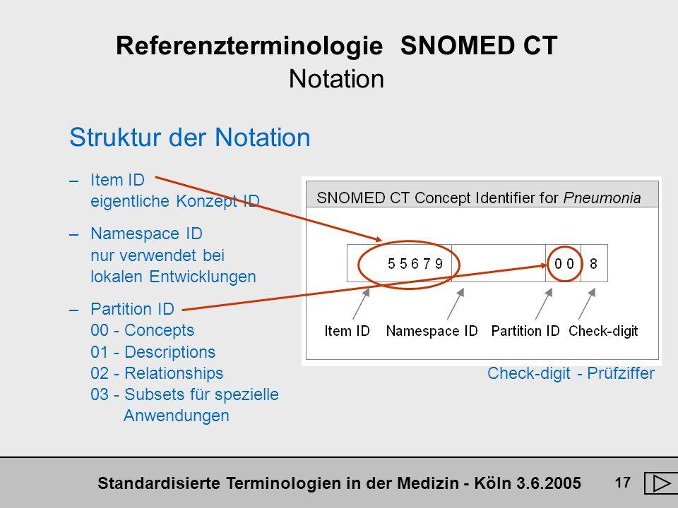Standardisierte Terminologien in der Medizin - Köln 3.6.2005 17 Referenzterminologie SNOMED CT Notation Struktur der Notation –Item ID eigentliche Kon