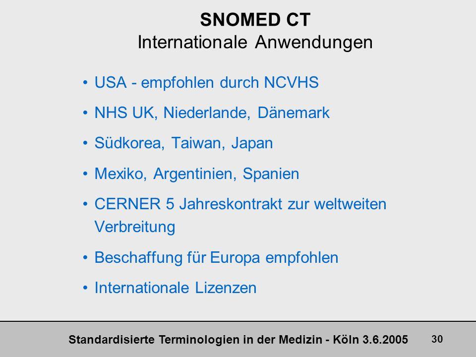 Standardisierte Terminologien in der Medizin - Köln 3.6.2005 30 SNOMED CT Internationale Anwendungen USA - empfohlen durch NCVHS NHS UK, Niederlande,