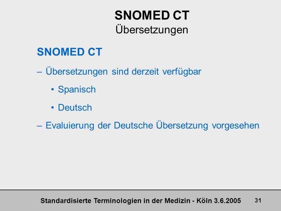 Standardisierte Terminologien in der Medizin - Köln 3.6.2005 31 SNOMED CT Übersetzungen SNOMED CT –Übersetzungen sind derzeit verfügbar Spanisch Deuts
