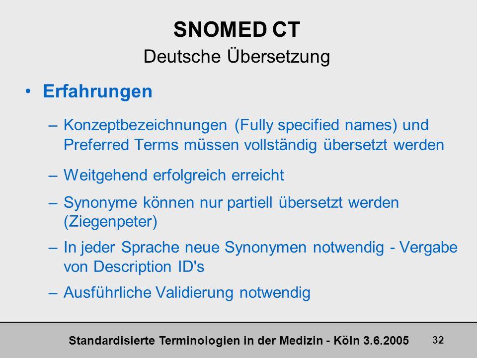 Standardisierte Terminologien in der Medizin - Köln 3.6.2005 32 SNOMED CT Deutsche Übersetzung Erfahrungen –Konzeptbezeichnungen (Fully specified name
