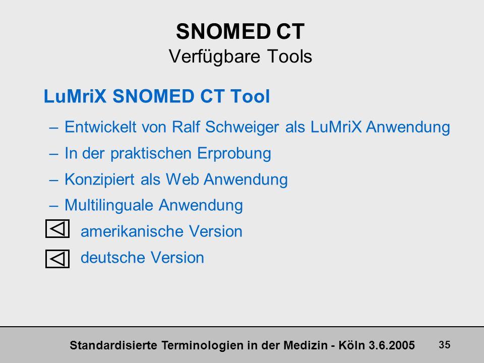 Standardisierte Terminologien in der Medizin - Köln 3.6.2005 35 SNOMED CT Verfügbare Tools LuMriX SNOMED CT Tool –Entwickelt von Ralf Schweiger als Lu