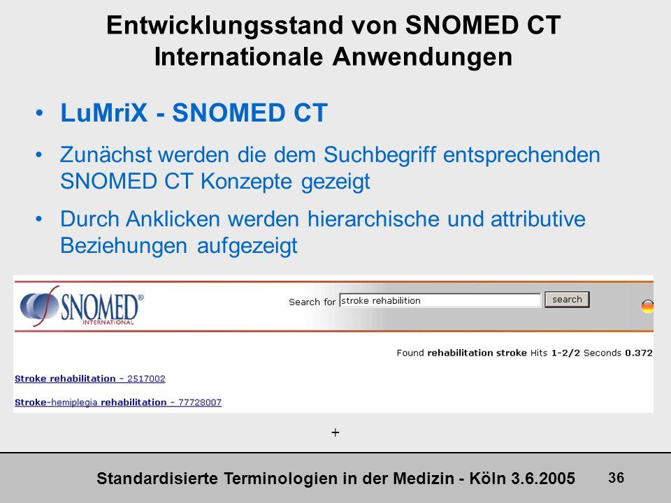 Standardisierte Terminologien in der Medizin - Köln 3.6.2005 36 Entwicklungsstand von SNOMED CT Internationale Anwendungen LuMriX - SNOMED CT Zunächst