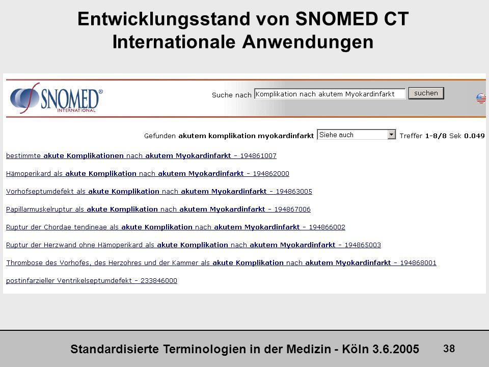 Standardisierte Terminologien in der Medizin - Köln 3.6.2005 38 Entwicklungsstand von SNOMED CT Internationale Anwendungen +