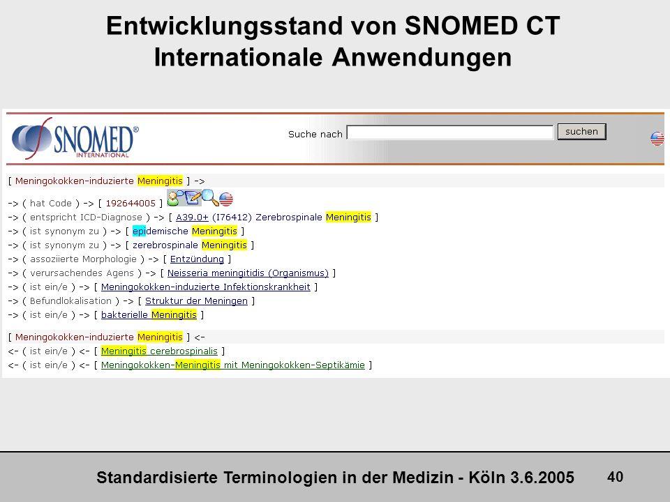 Standardisierte Terminologien in der Medizin - Köln 3.6.2005 40 Entwicklungsstand von SNOMED CT Internationale Anwendungen