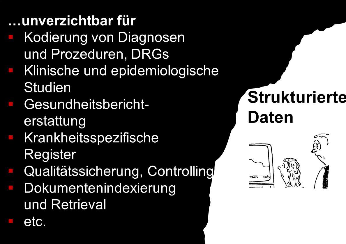 …unverzichtbar für Kodierung von Diagnosen und Prozeduren, DRGs Klinische und epidemiologische Studien Gesundheitsbericht- erstattung Krankheitsspezif