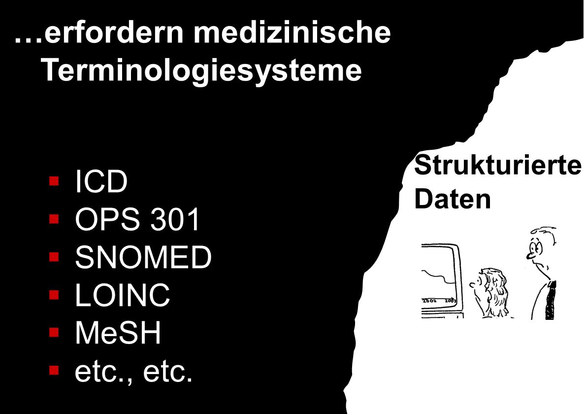 …erfordern medizinische Terminologiesysteme ICD OPS 301 SNOMED LOINC MeSH etc., etc. Strukturierte Daten