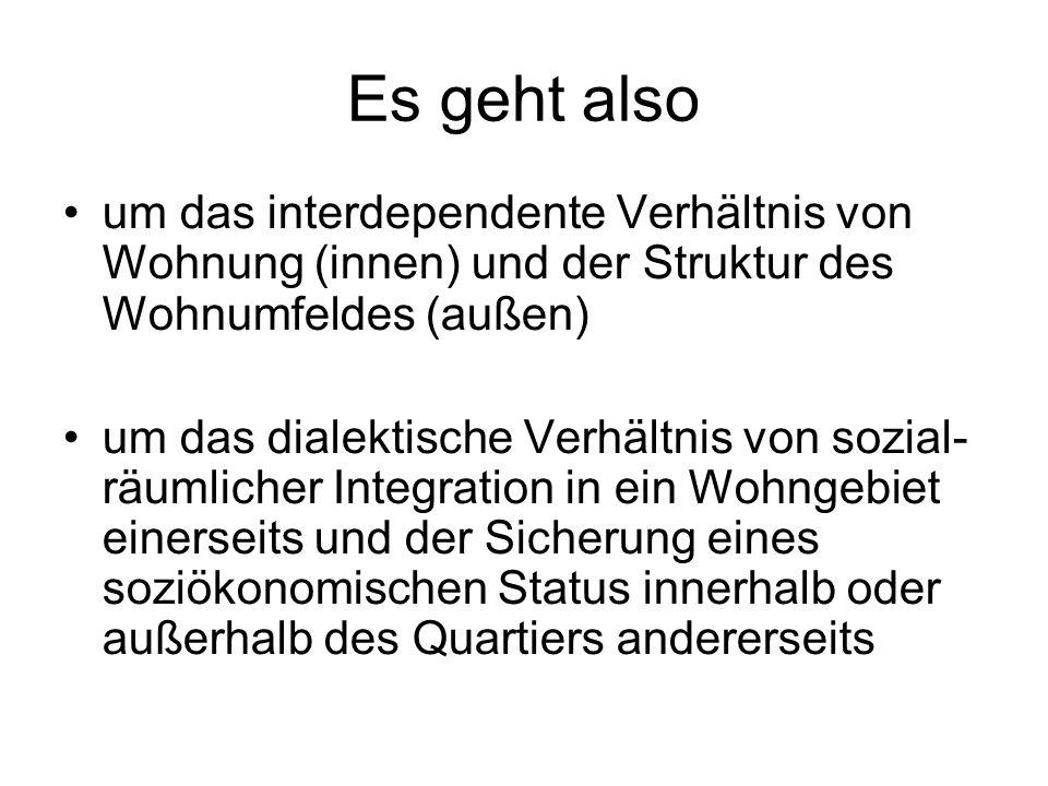 Es geht also um das interdependente Verhältnis von Wohnung (innen) und der Struktur des Wohnumfeldes (außen) um das dialektische Verhältnis von sozial- räumlicher Integration in ein Wohngebiet einerseits und der Sicherung eines soziökonomischen Status innerhalb oder außerhalb des Quartiers andererseits