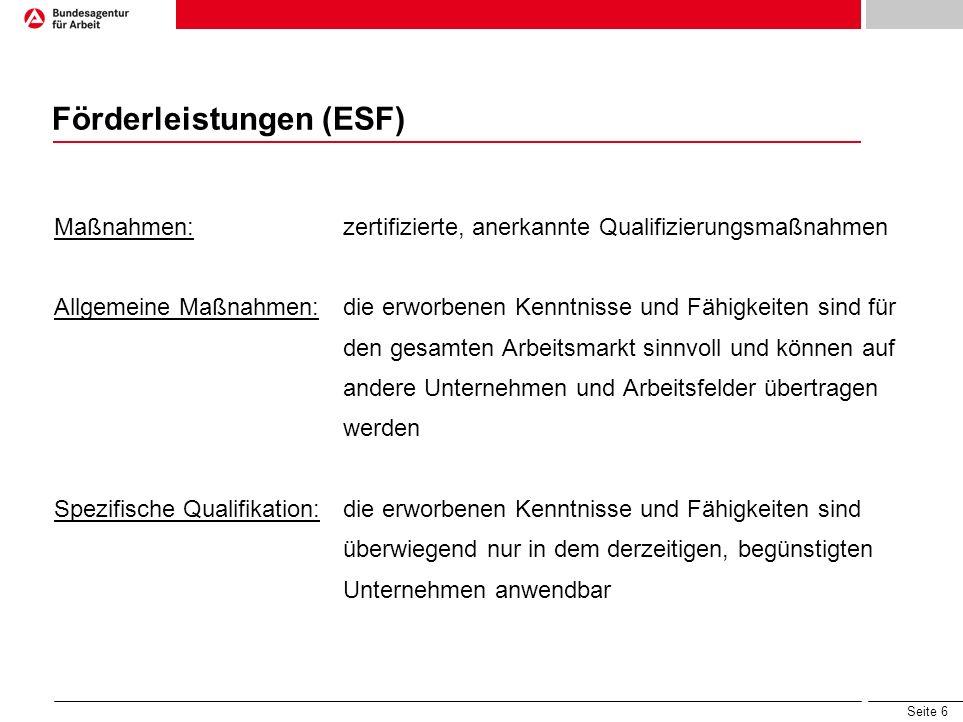 Seite 6 Förderleistungen (ESF) Maßnahmen: zertifizierte, anerkannte Qualifizierungsmaßnahmen Allgemeine Maßnahmen:die erworbenen Kenntnisse und Fähigk