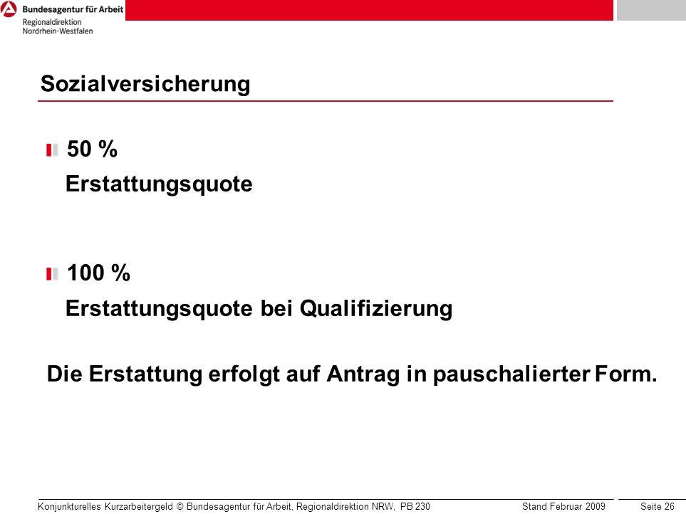 Seite 26 Konjunkturelles Kurzarbeitergeld © Bundesagentur für Arbeit, Regionaldirektion NRW, PB 230 Stand Februar 2009 50 % Erstattungsquote 100 % Ers