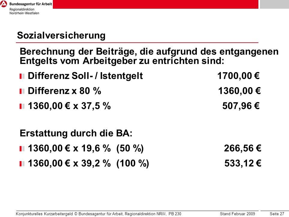 Seite 27 Konjunkturelles Kurzarbeitergeld © Bundesagentur für Arbeit, Regionaldirektion NRW, PB 230 Stand Februar 2009 Berechnung der Beiträge, die au