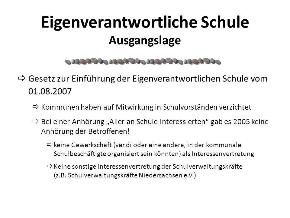 Eigenverantwortliche Schule Ausgangslage Gesetz zur Einführung der Eigenverantwortlichen Schule vom 01.08.2007 Kommunen haben auf Mitwirkung in Schulv