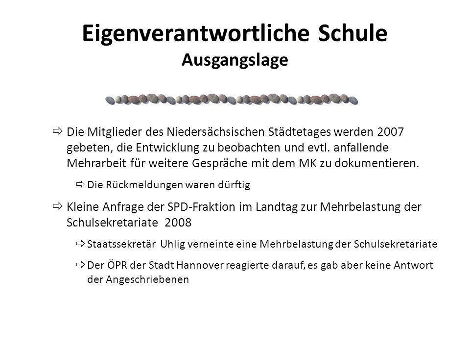 Eigenverantwortliche Schule Ausgangslage Die Mitglieder des Niedersächsischen Städtetages werden 2007 gebeten, die Entwicklung zu beobachten und evtl.