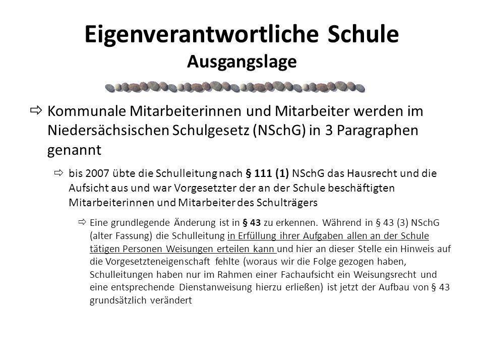 Eigenverantwortliche Schule Ausgangslage Kommunale Mitarbeiterinnen und Mitarbeiter werden im Niedersächsischen Schulgesetz (NSchG) in 3 Paragraphen g