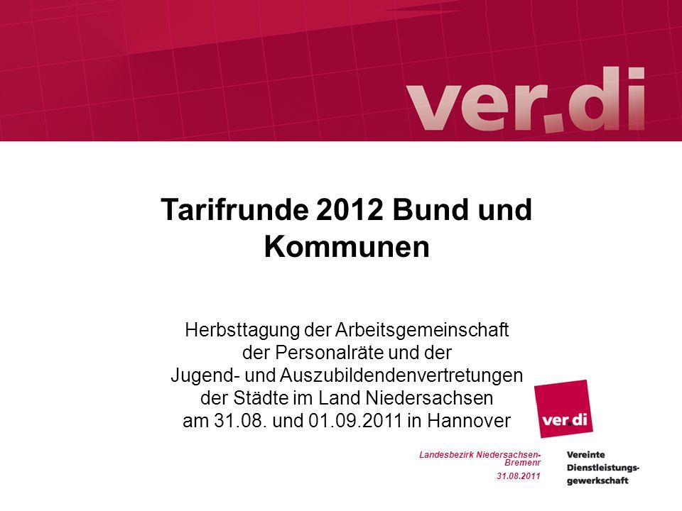 Tarifrunde 2012 Bund und Kommunen Tarifrunde 2012 Erste Tarifrunde für Bund und Kommunen nach der Krise Letzter Abschluss auf dem Höhepunkt der Krise für 2010 und 2011 mit Laufzeit von 26 Monaten und Entgelterhöhungen von 1,2 % ab 01.01.2010, 0,6 % ab 01.01.