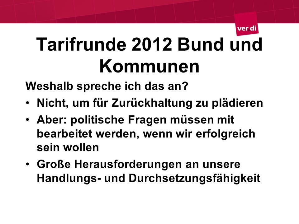 Tarifrunde 2012 Bund und Kommunen Weshalb spreche ich das an? Nicht, um für Zurückhaltung zu plädieren Aber: politische Fragen müssen mit bearbeitet w