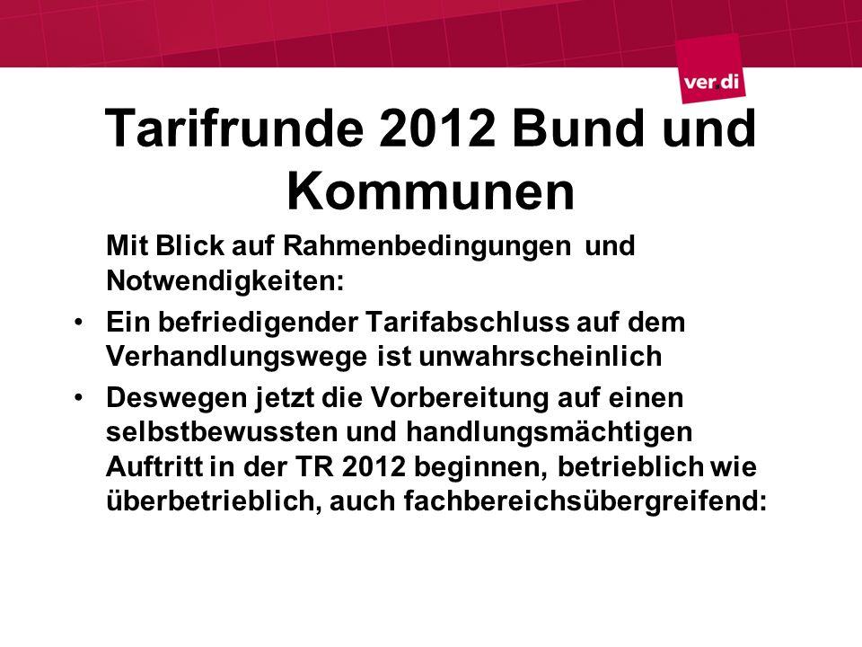 Tarifrunde 2012 Bund und Kommunen Mit Blick auf Rahmenbedingungen und Notwendigkeiten: Ein befriedigender Tarifabschluss auf dem Verhandlungswege ist