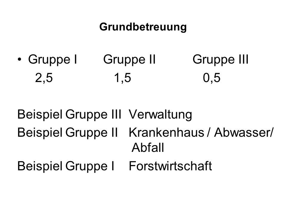Grundbetreuung Gruppe IGruppe II Gruppe III 2,5 1,5 0,5 Beispiel Gruppe III Verwaltung Beispiel Gruppe II Krankenhaus / Abwasser/ Abfall Beispiel Grup