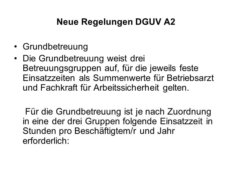 Neue Regelungen DGUV A2 Grundbetreuung Die Grundbetreuung weist drei Betreuungsgruppen auf, für die jeweils feste Einsatzzeiten als Summenwerte für Be