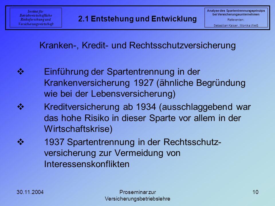 30.11.2004Proseminar zur Versicherungsbetriebslehre 10 2.1 Entstehung und Entwicklung Analyse des Spartentrennungsprinzips bei Versicherungsunternehme
