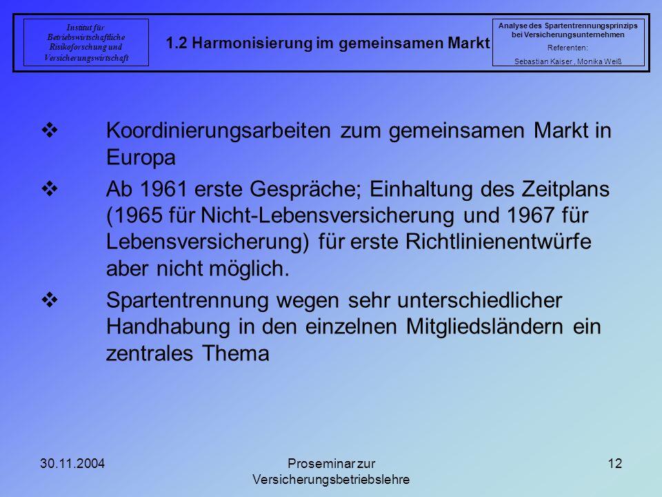 30.11.2004Proseminar zur Versicherungsbetriebslehre 12 1.2 Harmonisierung im gemeinsamen Markt Analyse des Spartentrennungsprinzips bei Versicherungsu