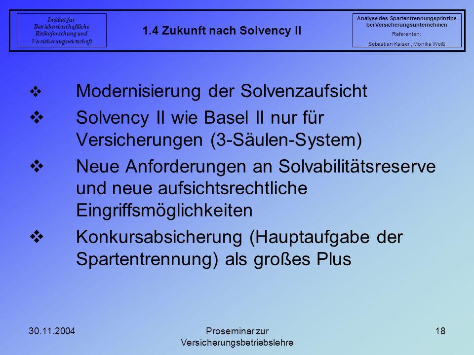 30.11.2004Proseminar zur Versicherungsbetriebslehre 18 1.4 Zukunft nach Solvency II Analyse des Spartentrennungsprinzips bei Versicherungsunternehmen