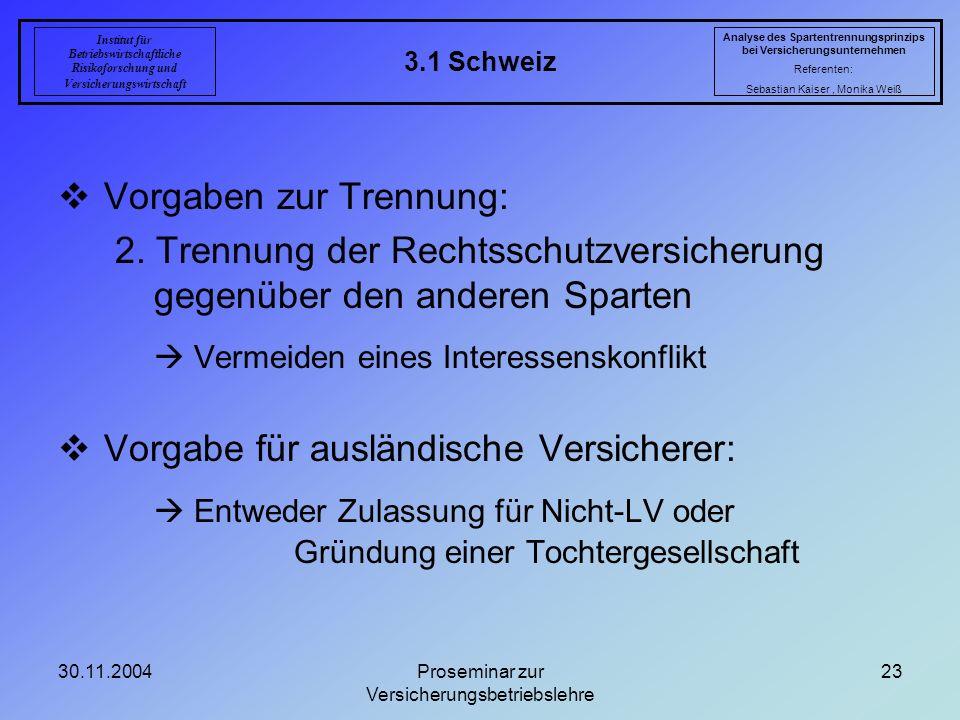 30.11.2004Proseminar zur Versicherungsbetriebslehre 23 3.1 Schweiz Analyse des Spartentrennungsprinzips bei Versicherungsunternehmen Referenten: Sebas