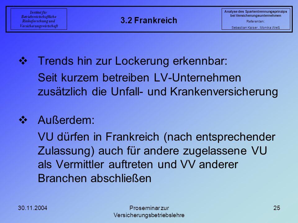 30.11.2004Proseminar zur Versicherungsbetriebslehre 25 3.2 Frankreich Analyse des Spartentrennungsprinzips bei Versicherungsunternehmen Referenten: Se
