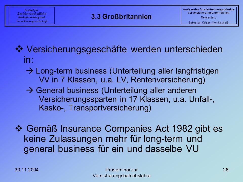 30.11.2004Proseminar zur Versicherungsbetriebslehre 26 3.3 Großbritannien Analyse des Spartentrennungsprinzips bei Versicherungsunternehmen Referenten