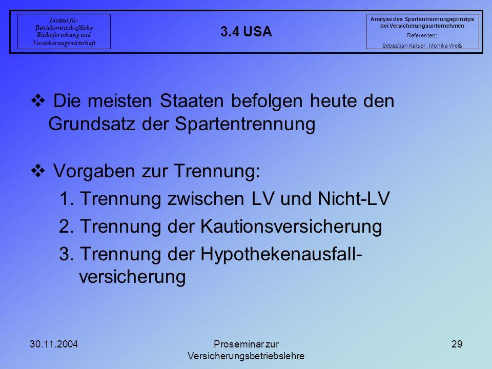 30.11.2004Proseminar zur Versicherungsbetriebslehre 29 3.4 USA Analyse des Spartentrennungsprinzips bei Versicherungsunternehmen Referenten: Sebastian
