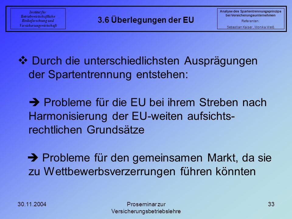 30.11.2004Proseminar zur Versicherungsbetriebslehre 33 3.6 Überlegungen der EU Analyse des Spartentrennungsprinzips bei Versicherungsunternehmen Refer