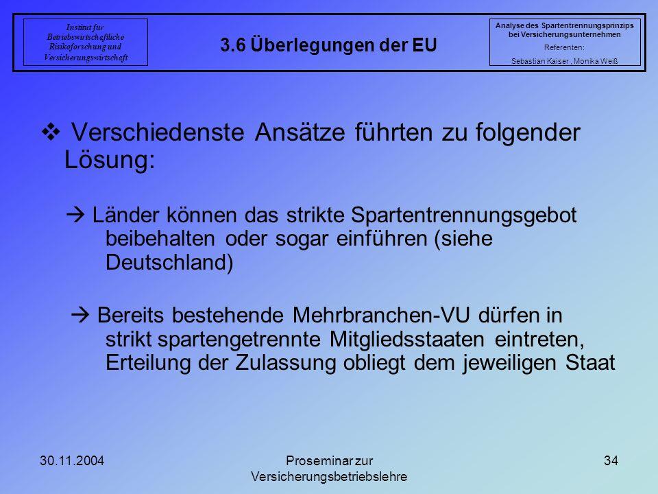 30.11.2004Proseminar zur Versicherungsbetriebslehre 34 3.6 Überlegungen der EU Analyse des Spartentrennungsprinzips bei Versicherungsunternehmen Refer