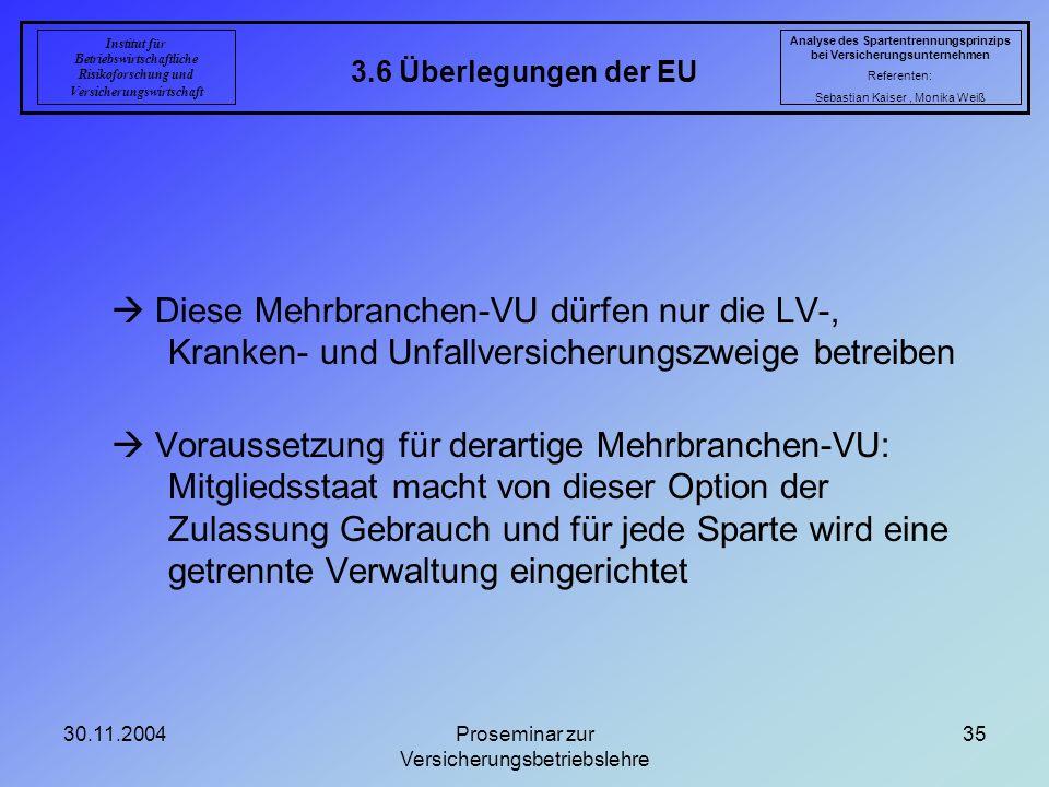 30.11.2004Proseminar zur Versicherungsbetriebslehre 35 3.6 Überlegungen der EU Analyse des Spartentrennungsprinzips bei Versicherungsunternehmen Refer