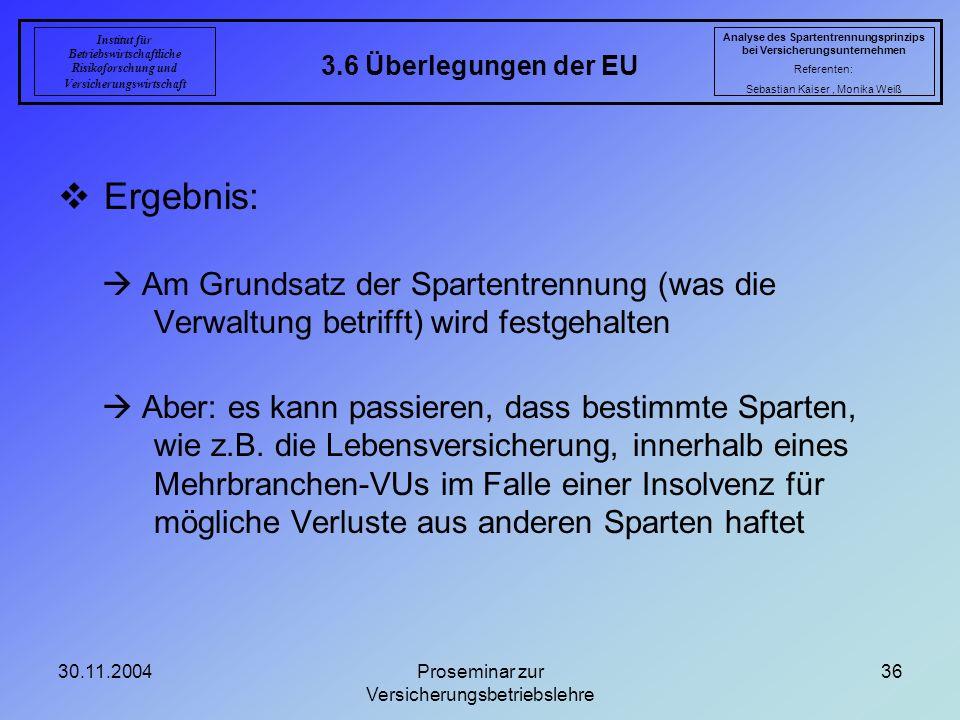 30.11.2004Proseminar zur Versicherungsbetriebslehre 36 3.6 Überlegungen der EU Analyse des Spartentrennungsprinzips bei Versicherungsunternehmen Refer