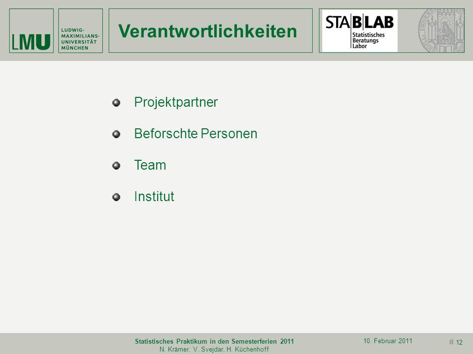 # 11 10. Februar 2011 Statistisches Praktikum in den Semesterferien 2011 N. Krämer, V. Svejdar, H. Küchenhoff Vorsicht bei automatischen Prozeduren Si