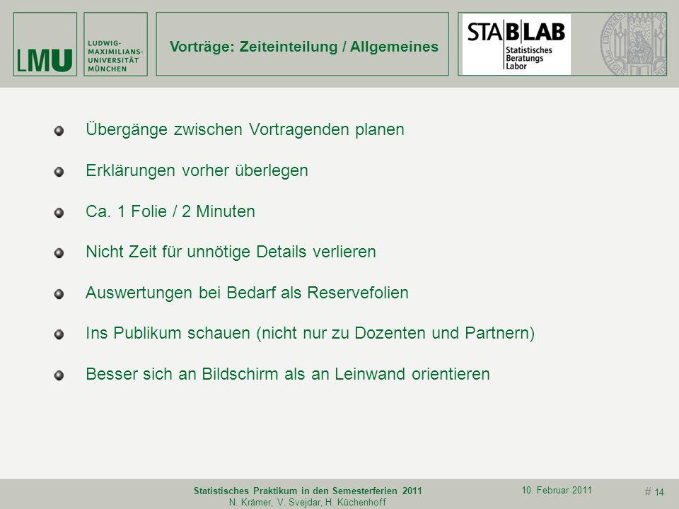 # 13 10. Februar 2011 Statistisches Praktikum in den Semesterferien 2011 N. Krämer, V. Svejdar, H. Küchenhoff Titelseite mit Projekt Namen Ort Klare a