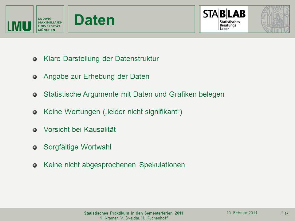 # 15 10. Februar 2011 Statistisches Praktikum in den Semesterferien 2011 N. Krämer, V. Svejdar, H. Küchenhoff Sehr wichtig: Vorher unter Realbedingung