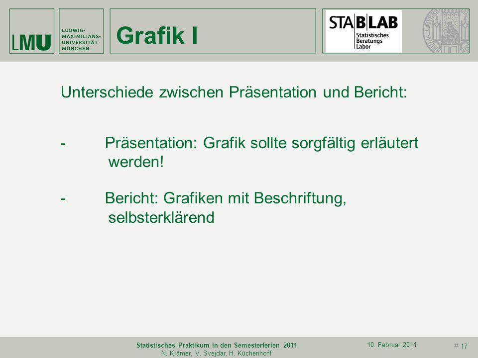 # 16 10. Februar 2011 Statistisches Praktikum in den Semesterferien 2011 N. Krämer, V. Svejdar, H. Küchenhoff Daten Klare Darstellung der Datenstruktu