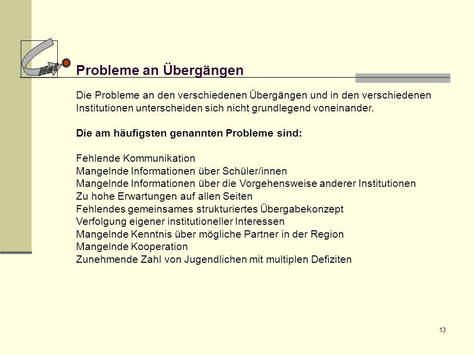 13 Probleme an Übergängen Die Probleme an den verschiedenen Übergängen und in den verschiedenen Institutionen unterscheiden sich nicht grundlegend von