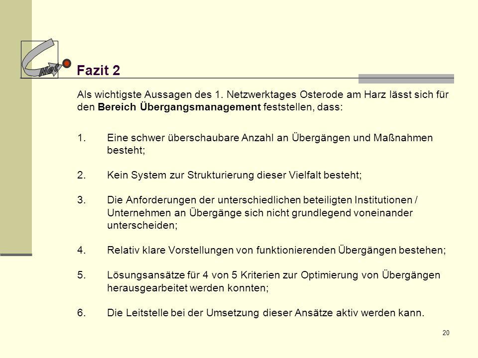 20 Fazit 2 Als wichtigste Aussagen des 1. Netzwerktages Osterode am Harz lässt sich für den Bereich Übergangsmanagement feststellen, dass: 1.Eine schw