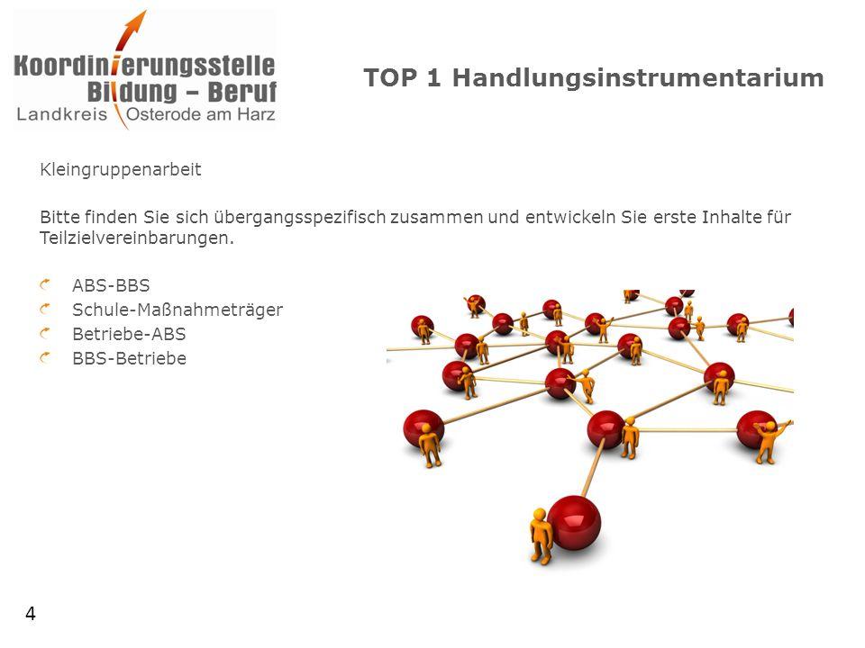TOP 1 Handlungsinstrumentarium Kleingruppenarbeit Bitte finden Sie sich übergangsspezifisch zusammen und entwickeln Sie erste Inhalte für Teilzielvereinbarungen.