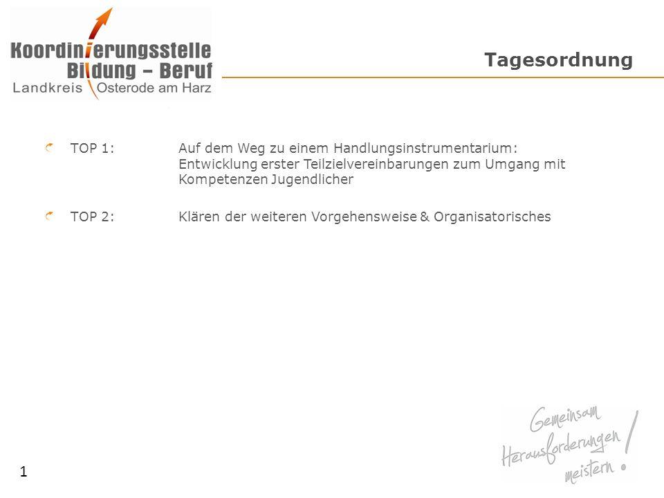 Tagesordnung TOP 1: Auf dem Weg zu einem Handlungsinstrumentarium: Entwicklung erster Teilzielvereinbarungen zum Umgang mit Kompetenzen Jugendlicher TOP 2: Klären der weiteren Vorgehensweise & Organisatorisches 1