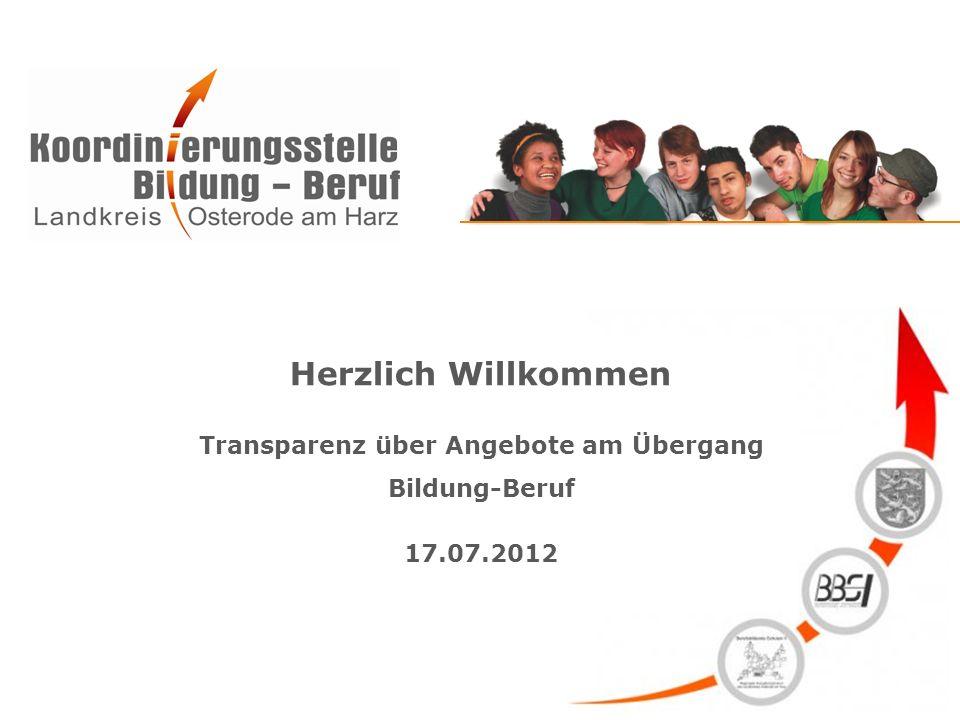 Herzlich Willkommen Transparenz über Angebote am Übergang Bildung-Beruf 17.07.2012
