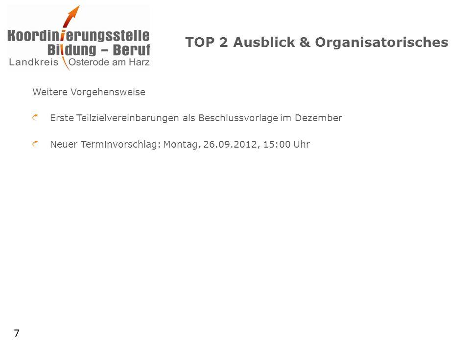 TOP 2 Ausblick & Organisatorisches Weitere Vorgehensweise Erste Teilzielvereinbarungen als Beschlussvorlage im Dezember Neuer Terminvorschlag: Montag, 26.09.2012, 15:00 Uhr 7