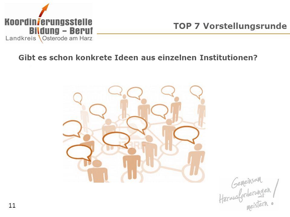TOP 7 Vorstellungsrunde 11 Gibt es schon konkrete Ideen aus einzelnen Institutionen?