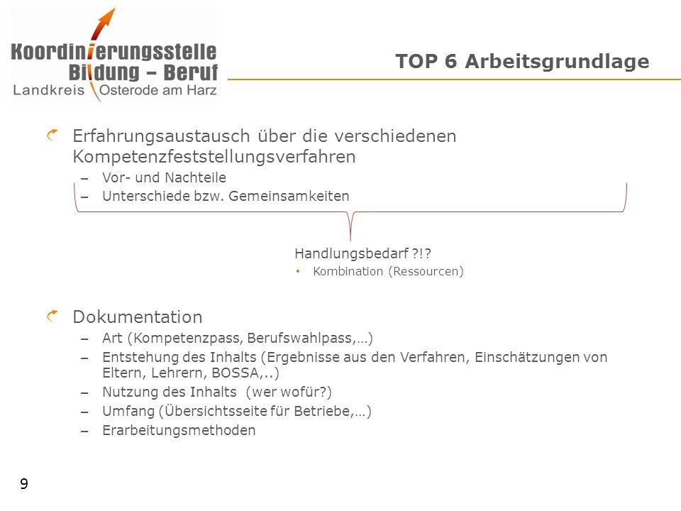 TOP 6 Arbeitsgrundlage Erfahrungsaustausch über die verschiedenen Kompetenzfeststellungsverfahren – Vor- und Nachteile – Unterschiede bzw. Gemeinsamke