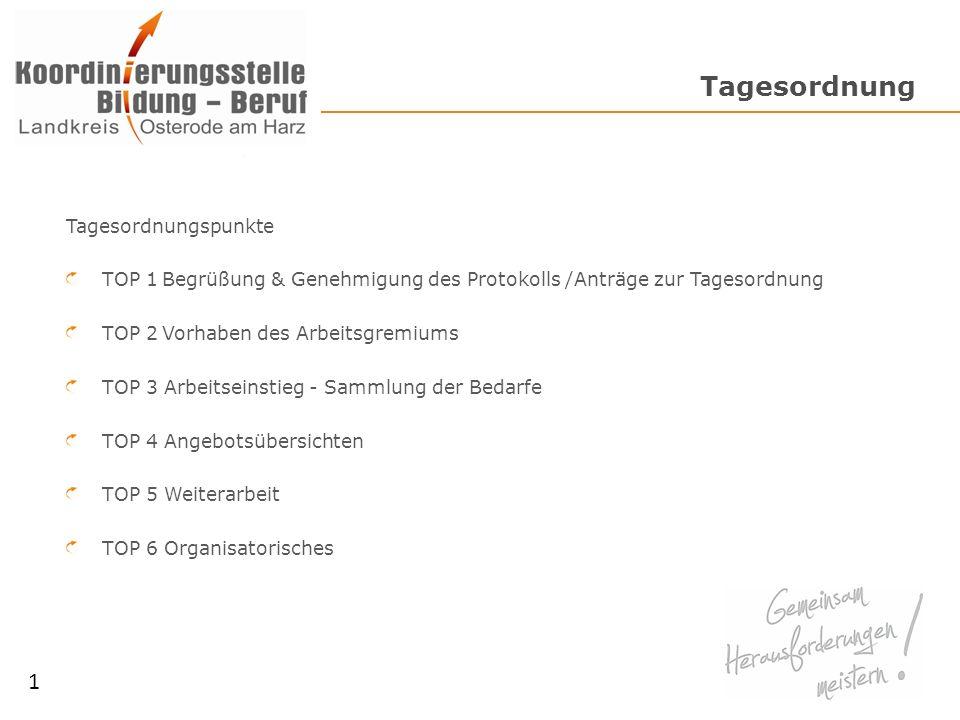 Tagesordnung Tagesordnungspunkte TOP 1Begrüßung & Genehmigung des Protokolls /Anträge zur Tagesordnung TOP 2Vorhaben des Arbeitsgremiums TOP 3 Arbeits